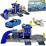 Motormax Polizei Station mit Fahrzeug und Zubehör mit vielen Funktionen 1/64