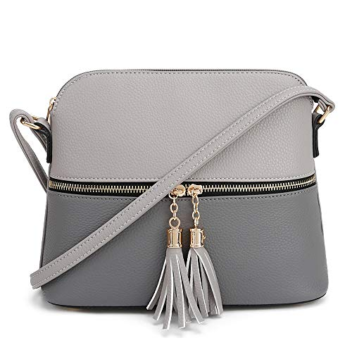 SG SUGU Lunar Lightweight Medium Dome Crossbody Bag Shoulder Bag with Double Tassels | Zipper Pocket...