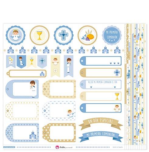 Anita y Su Mundo Primera Comunión Niño Papel Scrapbooking, Azul, 30,5x30,5cm, 13