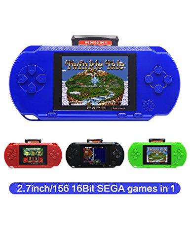 CZT 2.7 Pulgadas 16 bit Sega Consola de Videojuegos Consola de Juegos portátil Retro 156 Juegos Sega para los niños Regalo Batería de Litio Recargable (Blue)