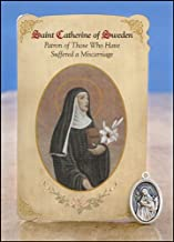 6pc Patron Saints of Healing St. Catherine of Sweden (Miscarriage) Healing Holy Card with Medal