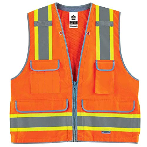 Ergodyne GloWear 8254HDZ Class 2 Heavy-Duty Surveyors Safety Vest, Orange, 4XL/5XL
