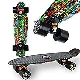 """WeLLIFE Skateboard Mini Cruiser RGX Nero Multicolor Tavola Skate 22"""" 56cm per Bambini Ragazzi Adulti, Ruote PU 78A con Cuscinetti ABEC-7RS"""