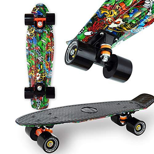 """WeLLIFE Skateboard Mini Cruiser RGX Nero Multicolor Tavola Skate 22"""" 56cm per Giovani Ragazzi Adulti, Ruote PU 78A con Cuscinetti ABEC-7RS"""