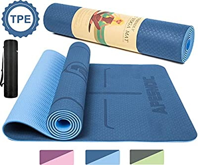 "APESNOIC Yoga Mat Non Slip - Eco Friendly Mat with Carrying Strap, Thick Exercise & Workout Mat for Yoga, Pilates and Fitness (72""x 24""x 6mm) (Blue)"