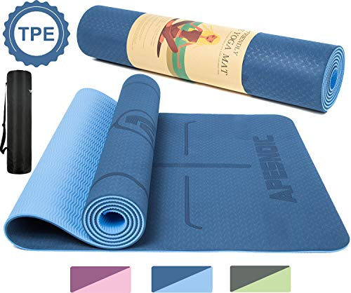 """APESNOIC Yoga Mat Non Slip - Eco Friendly Mat with Carrying Strap, Thick Exercise & Workout Mat for Yoga, Pilates and Fitness (72""""x 24""""x 6mm) (Blue)"""