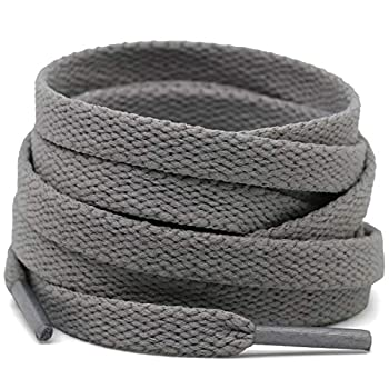 DELELE 2 Pair 47.24 Flat Shoe laces 5/16  Wide Shoelaces for Athletic Running Sneakers Shoes Boot Strings Light Gray