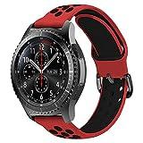 MroTech 22mm Correa Silicona Compatible para Samsung Gear S3 Frontier/Classic/Galaxy Watch 46mm Pulsera de Repuesto para GTR 47MM Huawei Watch GT/Active/Elegant/GT2 46mm Banda Reloj 22 mm, Rojo/Negro
