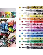 Acrylic Paint Marker Pens,Bamoer 15 Colors Premium Waterproof Permanent Paint Art Markers Pen Set for Rock Painting, Canvas, DIY Craft Project, Glass, Ceramic, Wood, Easter Egg, Mug, Metal