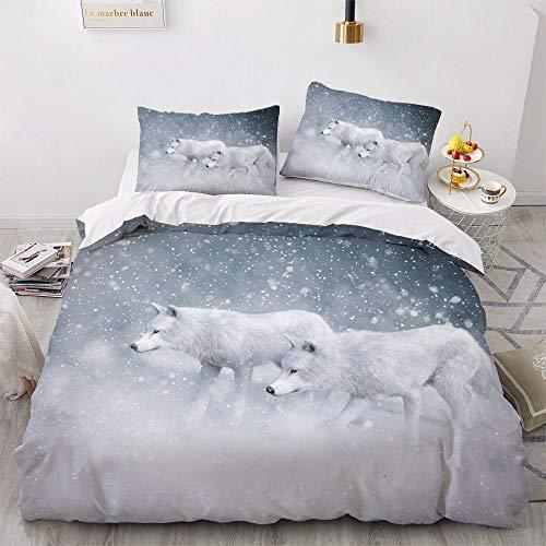 Wzhfsq Juego de ropa de cama infantil de 3 piezas, funda nórdica de lobo blanco para niñas, diseño de dibujos animados, suave y agradable al tacto, 135 x 200 cm, antialérgico, para adolescentes