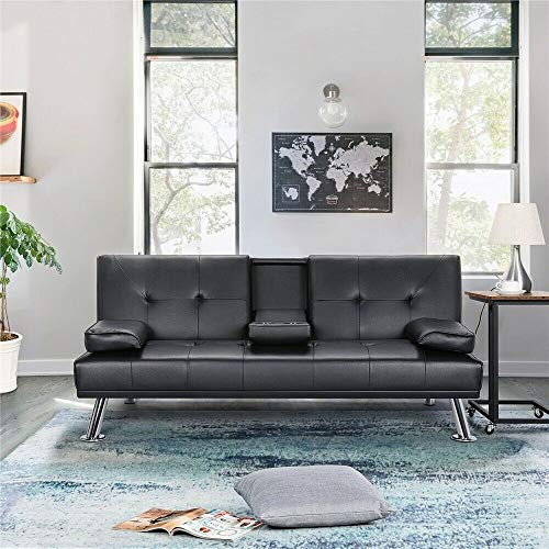 Modern Faux Leather Futon Sofa Bed Fold Up & Down Recliner Couch with Cup Holder (Black)