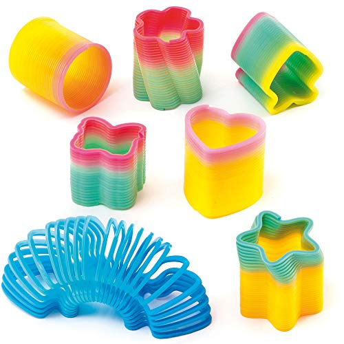 Baker Ross Resortes de Colores en Miniatura (Pack de 6) -Juguetes Infantiles para Bolsas de cotillón