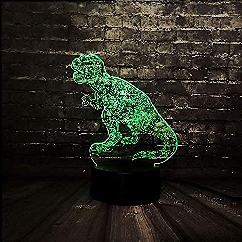 3D Diashow Jurassic Park Tattoo Dragon LED Nachtlampje / 3D humor lamp/kamerdecoratie/nachtlamp/E - Wekker Base 7 kleuren/D - Remote 7 ColorCrack White