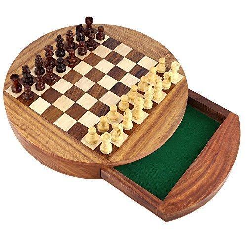 Shalinindia Unique Box Compact Round Magnetic Wooden Chess Board Et Pieces Set Cadeau pour Les Enfants Adultes