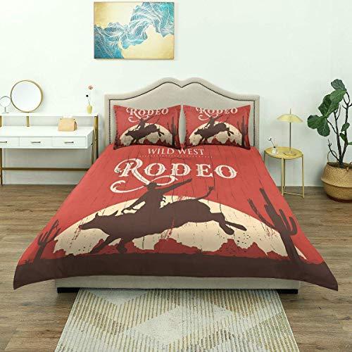 Copripiumino, cowboy rodeo toro in legno vecchio cartello in stile occidentale deserto al tramonto, set di biancheria da letto di lusso in microfibra leggera confortevole