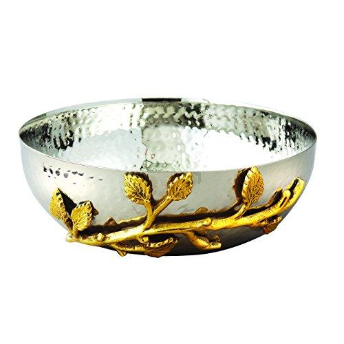 Elegance Golden Vine Hammered Stainless Steel Salad Bowl, 6.5-Inch, Silver/Gold (70031)