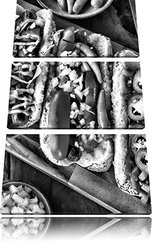American hot dogsFoto Canvas 3 deel | Maat: 120x80 cm | Wanddecoraties | Kunstdruk | Volledig gemonteerd