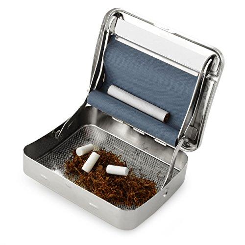 Ganzoo Zigarettendrehmaschine mit Tabak-Fach/Etui, Zigarettenroller graviert, Silber