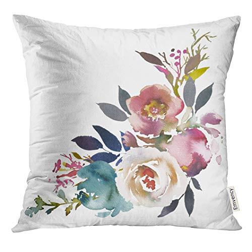 Emvency Throw Pillow Cover Navy Anemone Dusk Blue Pale Pink Gray White Watercolor Floral Corner Bouquet Arrangement Decorative Pillow Case Home Decor Square 18x18 Inches Pillowcase