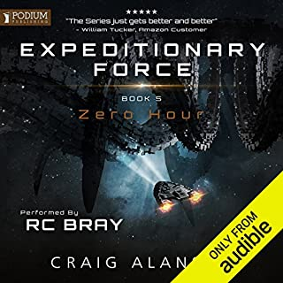 Zero Hour     Expeditionary Force, Book 5              Written by:                                                                                                                                 Craig Alanson                               Narrated by:                                                                                                                                 R. C. Bray                      Length: 17 hrs and 20 mins     514 ratings     Overall 4.8