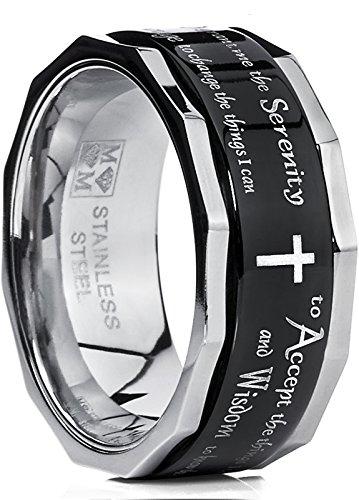 Metal Masters Co. Men's Women's Black Stainless Steel Religious Cross Serenity Prayer Spinner Ring 9MM Size 12