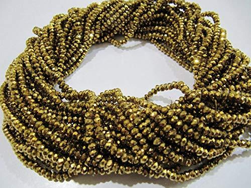 Shree_Narayani 3 cuerdas – Cristal de calidad AAA de cristal dorado pirita color cuentas Rondelle facetadas tamaño 3mm recubierto de oro Color joyería haciendo cuentas de piedra natal