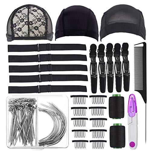 Wig Making Kit DIY Wig Tools Wig Accessories,5 Pieces Adjustable Elastic Band,Wig Making Cap Pins Needles Set,3 Pieces Dome Mesh Wig Cap,Black Thread Hair Clips Comb and Scissors