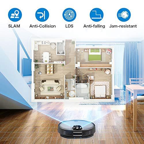 Proscenic M6 PRO WLAN Saugroboter, Saugroboter mit Wischfunktion, Staubsauger Roboter mit Laser-Navigation, Alexa- & Google Home &Appsteuerung, 2600PA Saugkraft und selektive Zimmerreinigung - 5