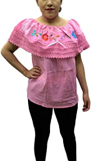 Autentic Traditional Women's Mexican Peasant Blouse Cotton Tops Shirt Embroidered on Looms of Mexican artisans (XL)