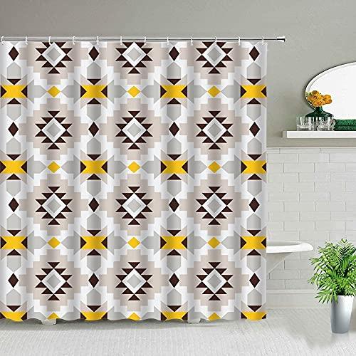 XCBN Geometrische Blume Duschvorhänge Indien Bohemian Style Design Wasserdichter Stoff Badezimmer Dekor Stoff mit Haken A11 120x180cm