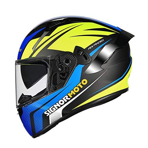 QZH Casco de Motocross, el Dot/ECE Certificado de la Cara Llena Casco de la Motocicleta, Anti-Niebla antideslumbrante Parasol de Doble Lente Cuatro Estaciones Universal Destape Casco,Azul,XL60to61cm