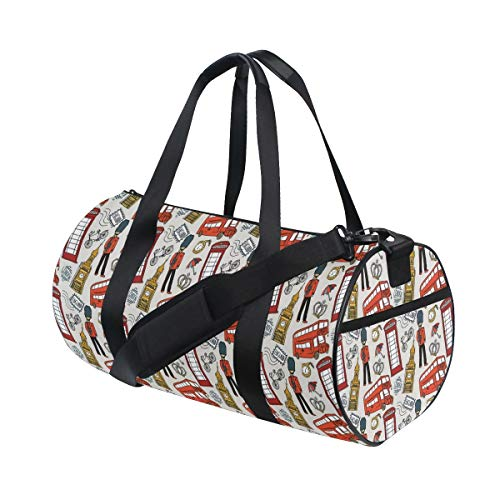 HARXISE Bolsa de Viaje,Impresión de Iconos ingleses de Doodle de Londres,Bolsa de Deporte con Compartimento para Sports Gym Bag