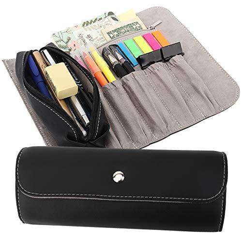 MoKo Estuche Enrollable/Bolsa de Maquillaje, Organizador de PU de Lápiz con 1 Bolsa de Lápiz Extraíble, 5 Ranuras, 1 Bolsillo con Cremallera & Hebilla Magnética para Oficina, Escuela, Hogar - Negro