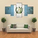 GHYTR Bild Auf Leinwandbild 5 Teiliges,5 Stücke Kunstdruck Wanddeko Die Flagge Von Guatemala 5 Teilig Leinwandbilder,5 Teilig Bilder Wandbild,Wohnzimmer Dekoration Geschenk