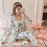 3 Pijamas para Mujer Primavera y Verano Muebles para el hogar Pijama de Tres Piezas Camisa de Vestir...