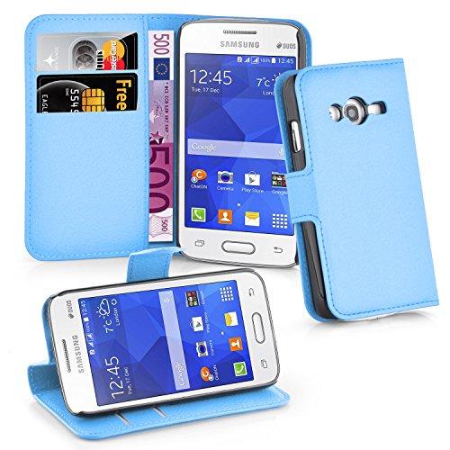 Cadorabo Hülle kompatibel mit Samsung Galaxy ACE 4 LITE Hülle in Pastel BLAU Handyhülle mit Kartenfach & Standfunktion Schutzhülle Etui Tasche