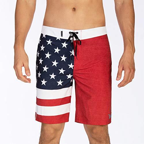 "Hurley Men's Apparel Phantom Cheers USA Flag 20"" Boardshort Swimwear, Gym Red A, 38"""