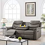 Pannow Double Recliner Loveseat with Console Slate, Double Reclining Sofa with Cup Holder, 3-Seater with Flipped Middle BACKREST Black PU, Theater Seating Furniture Sofa Bed, Gray PU