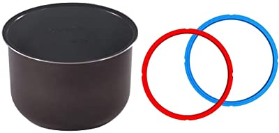 Genuine Instant Pot Ceramic Non-Stick Interior Coated Inner Cooking Pot - 6 Quart & Genuine Instant Pot Sealing Ring 2-Pack - 6 Quart Red/Blue