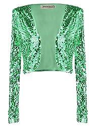 Green Sequin Long Sleeve Cropped Blazer Bolero Shrug