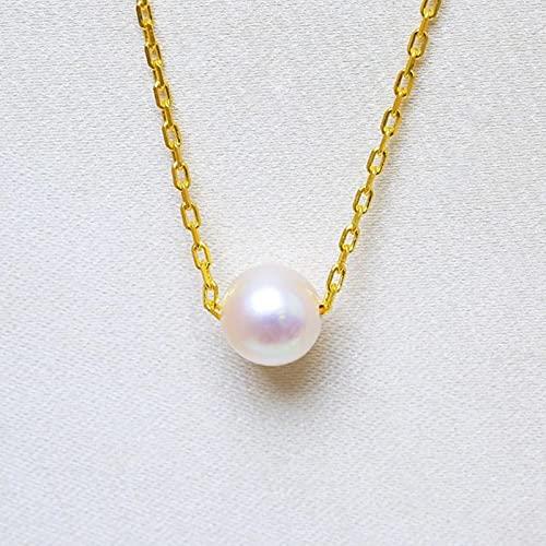 LeNing shop Collar con Colgante de Perlas 5-6 mm Collar de Perlas de mar Blanco 925 Joyas Simples de Plata esterlina para Mujeres