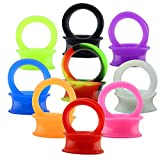 ZS 9 Pair Silicone Flexible Thin Ear Plugs Tunnels Double Flared Expander Ear Gauges Piercing (Gauge=9/16'(14mm))