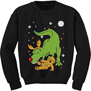 T-Rex Biting Gingerbread Funny Ugly Christmas Toddler/Kids Sweatshirts