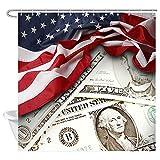 Aliyz USA Flagge Duschvorhang 3D Amerikanische Flagge & Vereinigten Staaten Geld Dollar Dekoration Polyester Wasserdicht Frbric Duschvorhang Badezimmer Dekor Zubehör 71 Watt X 71 L Zoll
