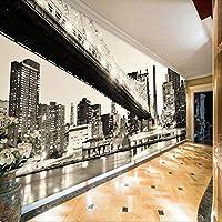ホーム改善カスタム3D壁壁画レトロ黒と白市橋風景写真壁紙オフィスリビングルーム壁紙, 300cm×210cm