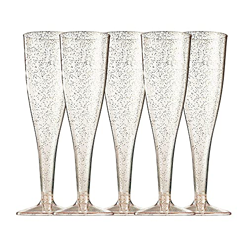 Copas de Vino de Plástico de Moda, 5 PCS Copas de Champán Elegantes, Copas de Vino de Plástico Transparente, Copas de Champán de Plástico, Copas de Vino Desechables - 125 ml