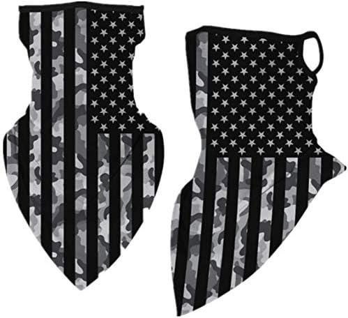 Tsyllyp 2 PCS American Flag Fashion Bandanas Print Head Wrap Scarf Novelty Face Cover Ear Loops product image