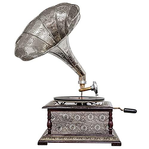 aubaho Nostalgie Grammophon Dekoration mit Trichter Grammofon Antik-Stil (k2)