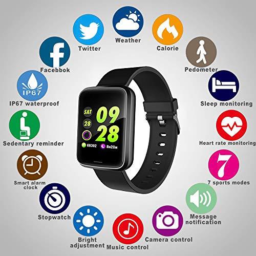 Lintelek Montre Connectée Intelligente, Pression Artérielle Cardio Fréquence Smartwatch Bracelet...