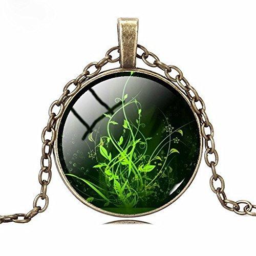 Halskette mit Punk-Anhänger, fluoreszierende grüne Pflanze, Schmuck, Glascabochon, Bronze, Vintage-Statement-Halskette, trendiger Damenschmuck
